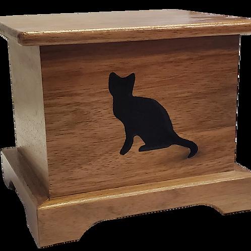 Sitting Cat Wood Urn