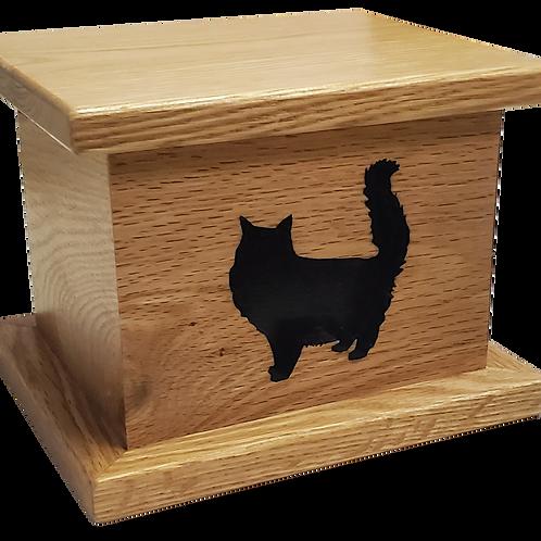 Long Hair Cat Wood Urn