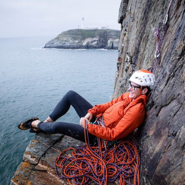 Gilly belaying on 'North West Passage'
