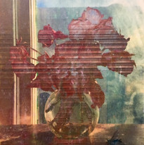 Memento Mori with Bluebottle (photo transfer and oil paint on canvas)