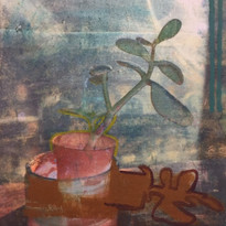 Narcissus (photo transfer and oil paint on canvas)