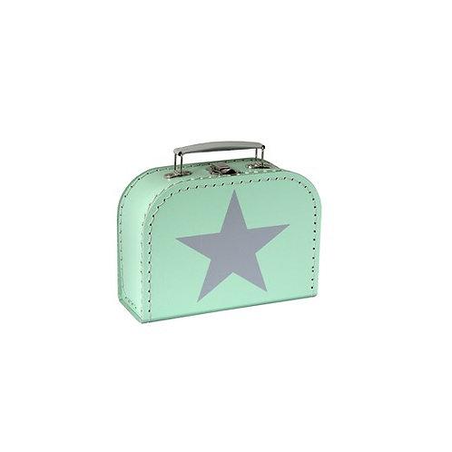 papírový kufřík malý mint BÍLÁ hvězda