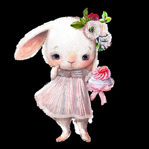 plakát králičí holčička s dortem
