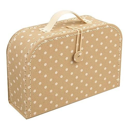 papírový kufřík velký přírodní s tečkami