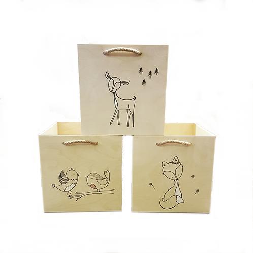 zvířátková kostka - ruční malba kontury, (box) do kallax, eket a menší atypy