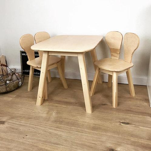set stoleček a 2 židličky - více variant, bez povrchové úpravy