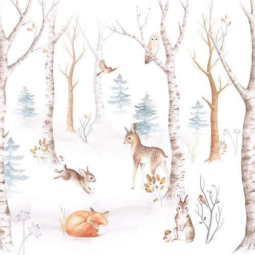 Tapeta les se zvířátky papírová s lepidlem