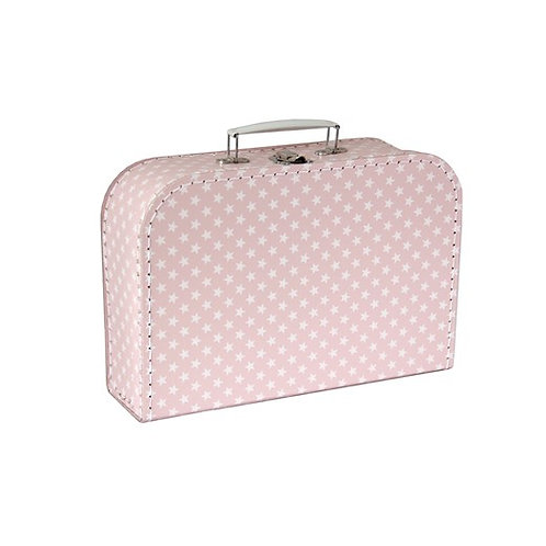 papírový kufřík velký růžový s hvězdami