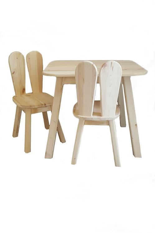 stoleček a 2 židličky - masivní dřevo