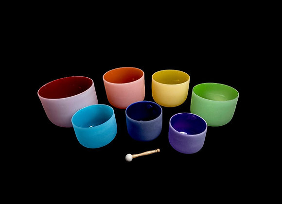 Set of 7  Coloured Quartz Crystal Singing Bowls - Chakra Tuned - 432Hz