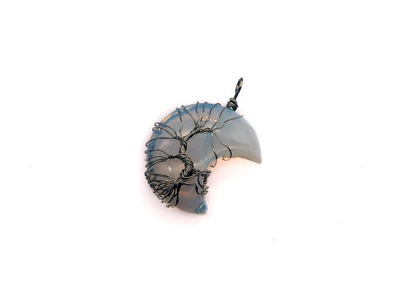 Opalite Moon Wire Wrapped Tree Of Life Pendant (Silver)