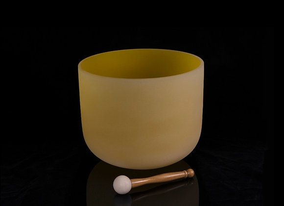 """12"""" Yellow Crystal Singing Bowl - Note E"""