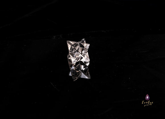 Natural Clear Quartz Hand Cut Crystal Merkaba Star