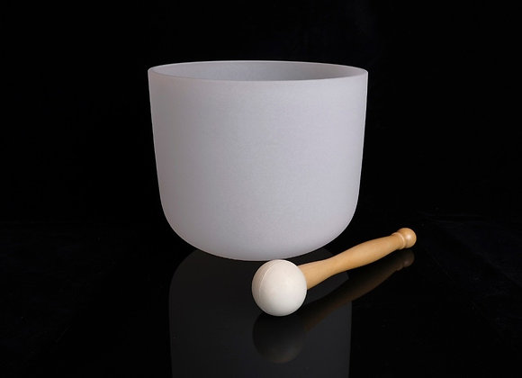 """10"""" Frosted White Crystal Singing Bowl - Note G"""