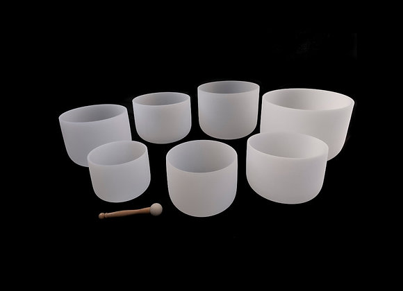 Set of 7  Frosted White Quartz Crystal Singing Bowls - Chakra Tuned - 432Hz