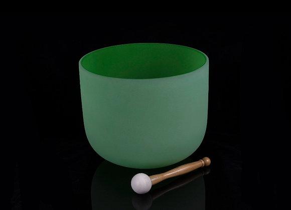 "11"" Green Crystal Singing Bowl - Note F"