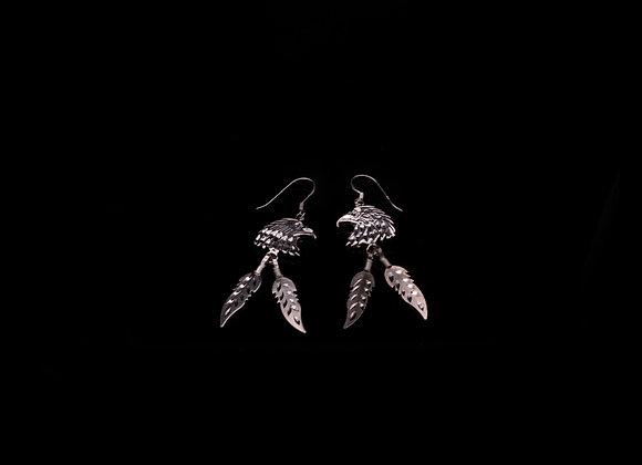 Eagle Silver Feathers Earrings (Sterling Silver)
