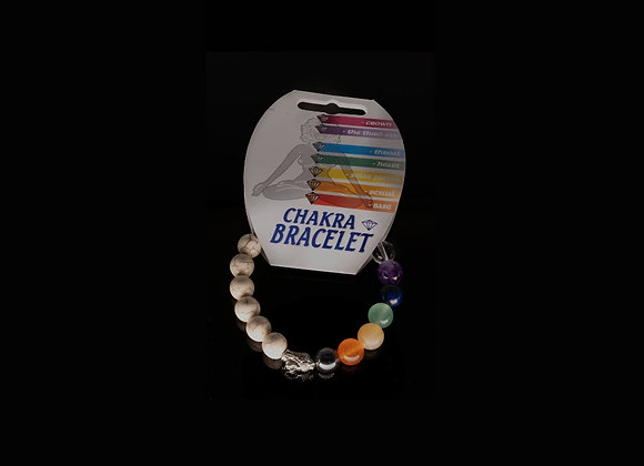 Chakra Howlite Bead Buddha Bracelet