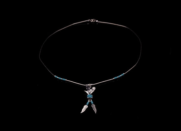 Eagle Necklace with Turquoise (Sterling Silver)