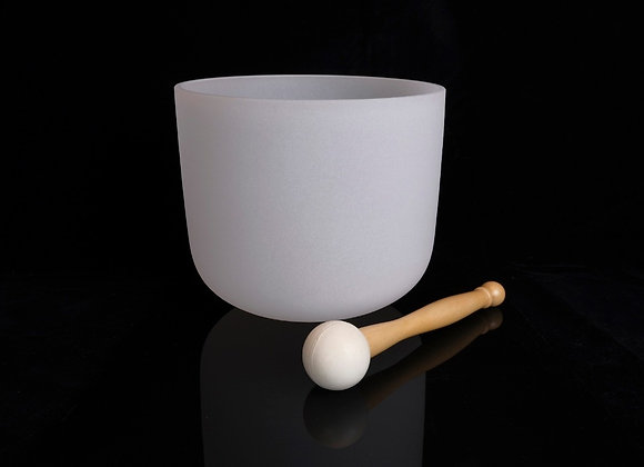 """13"""" Frosted White Crystal Singing Bowl - Note D"""
