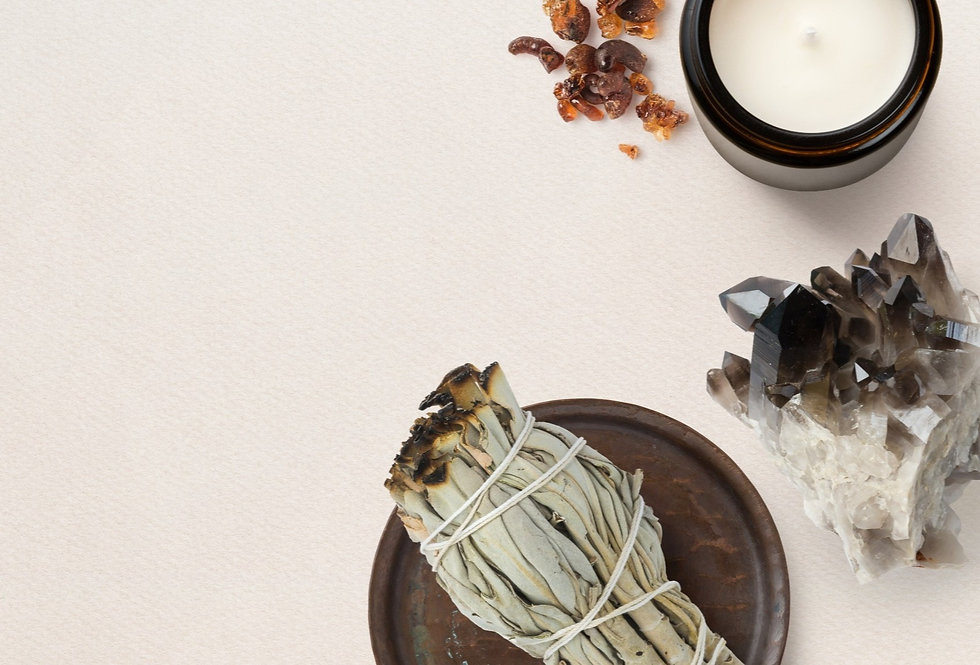 Healing candel, Incense sage and healing crystal