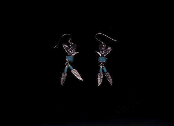 Eagle Earrings with Turquoise (Sterling Silver)