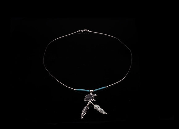 Eagle Necklace with Silver Feathers & Turquoise (Sterling Silver)
