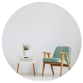 office chair with side table and plant