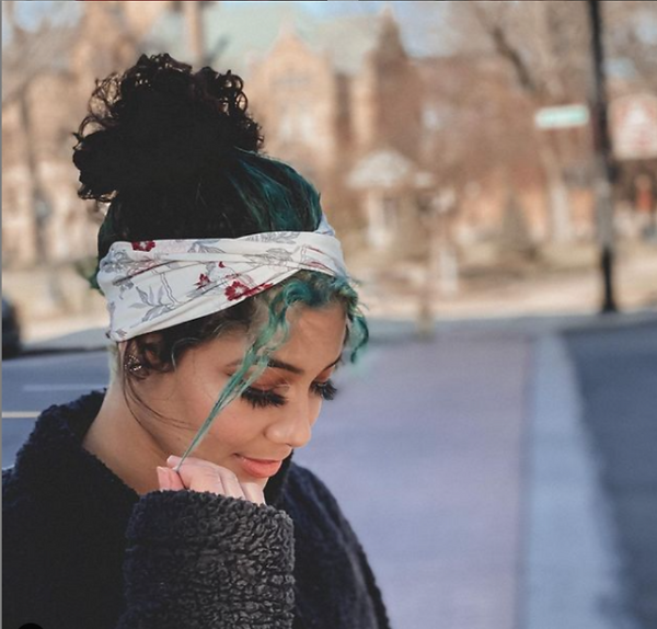 Young woman with MandaBees headband