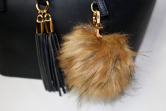 The Teddy Faux Fur Pom-Pom Keychain