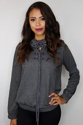 Lace Up Charcoal Pullover