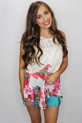 Tea Party Floral & Lace Top