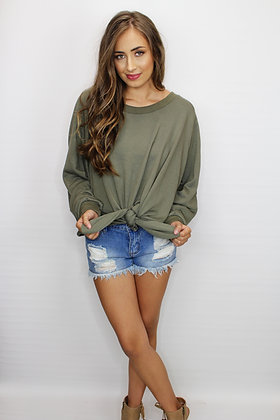 All Tied Up Olive Sweatshirt