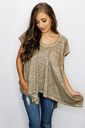 Just Roll With It Tan Burnout Tee