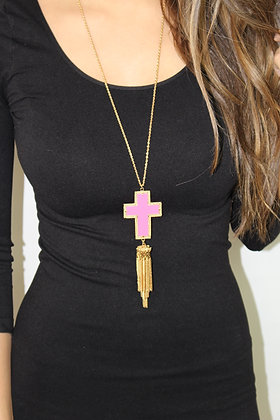 Sunday Morning Hot Pink Cross Necklace