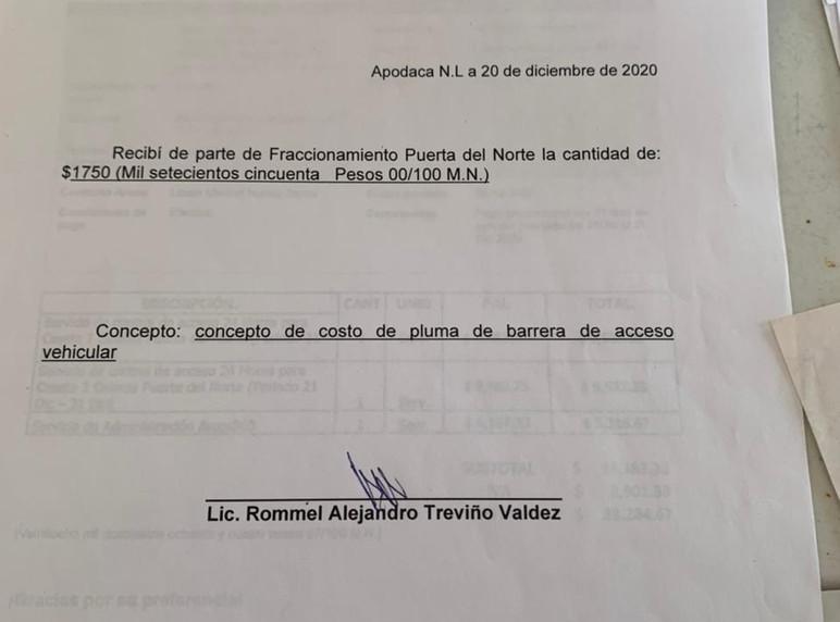 Recibo de pago de reparacion de pluma de caseta colombia