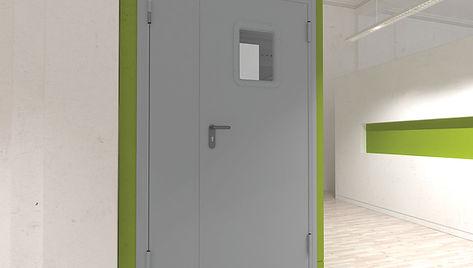 Техническая дверь двустворчатая с окном.