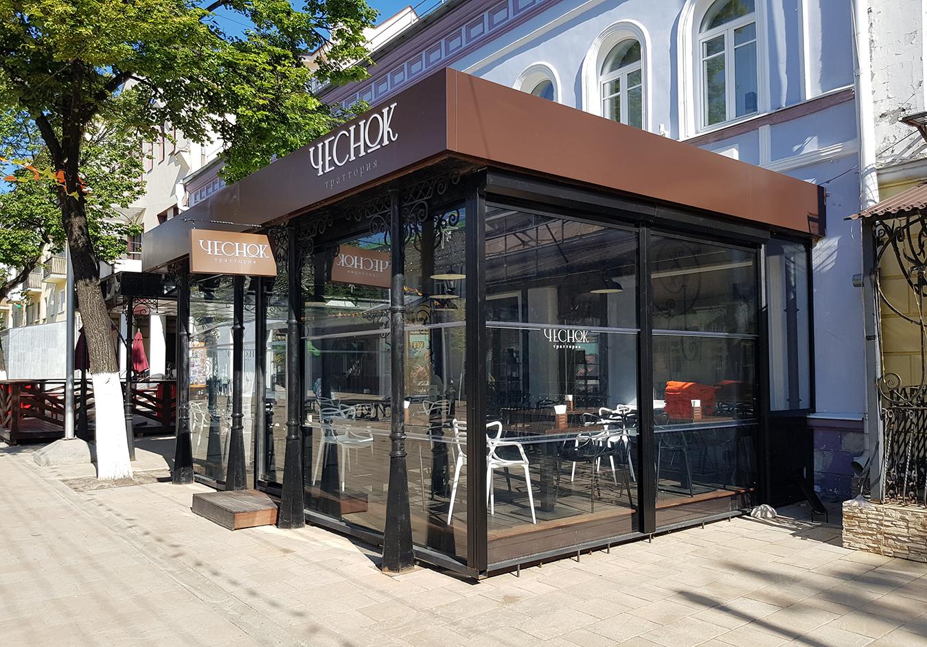 стеклянное ограждение ресторан