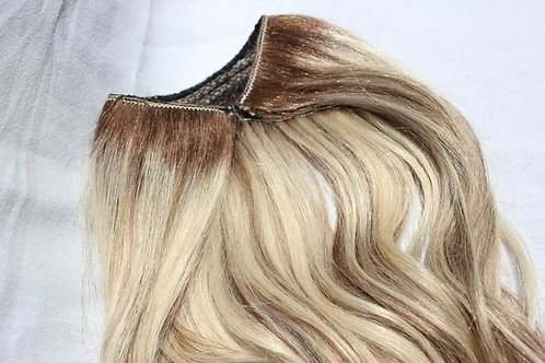 Plush hidden hair piece on invisible wire. Adjustable, balayage, all lengths