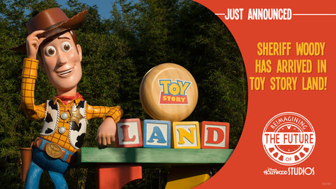 """I created the style for """"First Look"""" announcements. We shared these slides on CastTV as we received updates on the progress of Toy Story Land."""