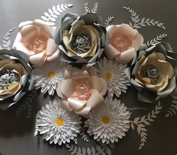 Silver, Cream & Peach Party Decor Set