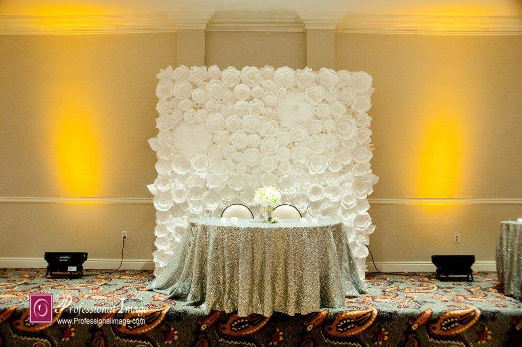 All White Backdrop For Sweetheart Table