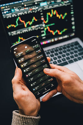 Person looking at their investments on a phone