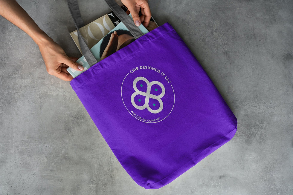 Image of a reuseable bag mock up designed by Chib Designed It LLC, a web design agency in Texas, USA.