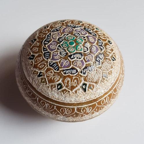 Porta Jóias Pedra Sabão Mandalas Caramelo