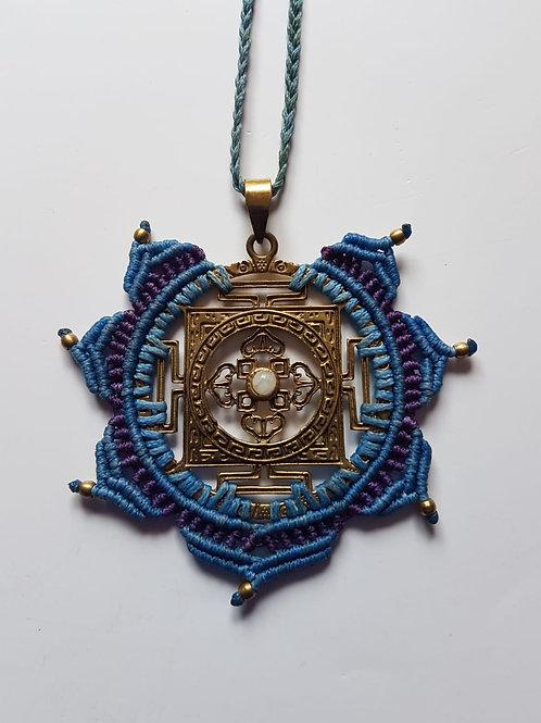 Colar  Indiano Yantra Azul Claro