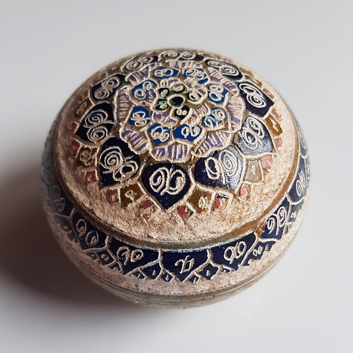 Porta Jóias Pedra Sabão Mandala Azul