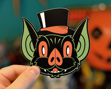 Bat in a Top Hat Halloween Hooligan Sticker