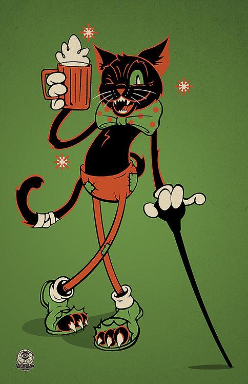 Halloween Hooligan Drunk Cat 11x17 Print