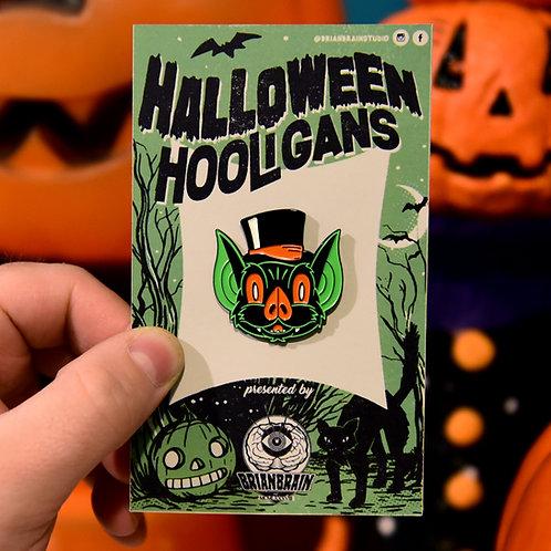Bat in a Top Hat Halloween Hooligan Pin